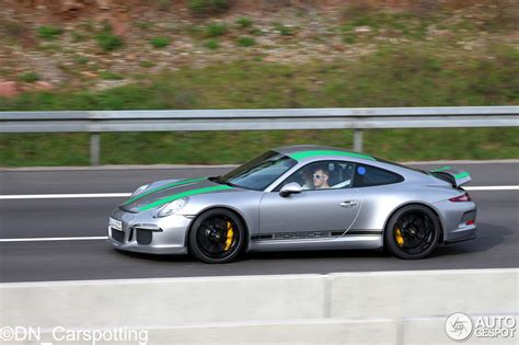 is porsche german 2017 porsche 911 r with green stripes shows up in germany