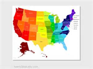 united states map rainbow with labeled us states or