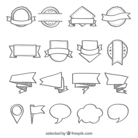doodle bubbles vector free badges banners and speech doodles vector free
