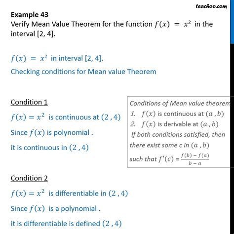 exle 43 verify mean value theorem for f x x2 in 2