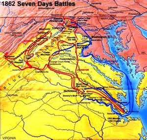 map of civil war battles in us seven days battles civil war virginia seven days caign