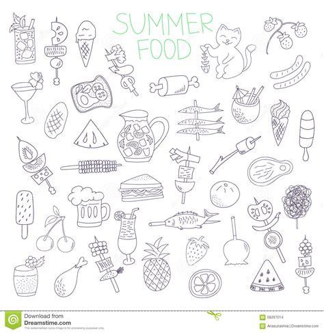 summer doodle free vector vector summer food doodles set stock vector image 58297014