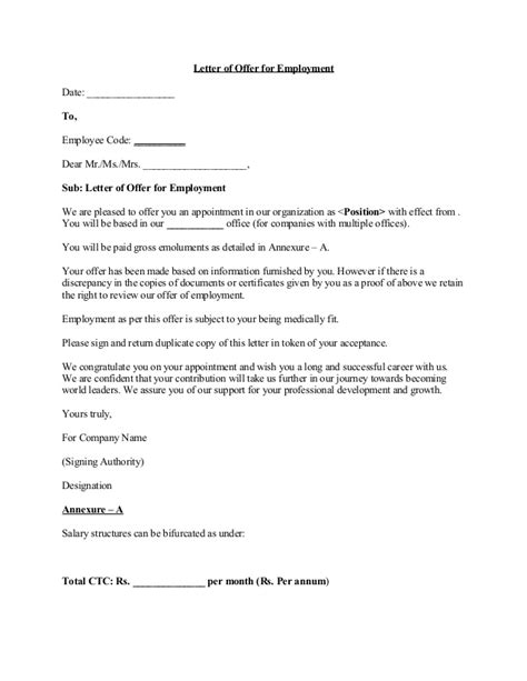 Letter Of Intent Sle Offer Offer Letter 5