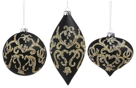 black gold christmas ornaments evergreen enterprises inc cypress home gold and black embellished glass ornaments 3