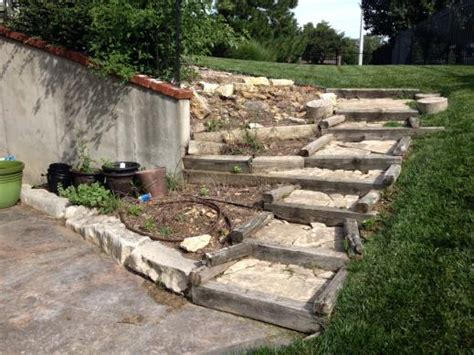 Landscape Timbers Rotting Replacing Rotten Wood Retaining Wall And Steps With Brick