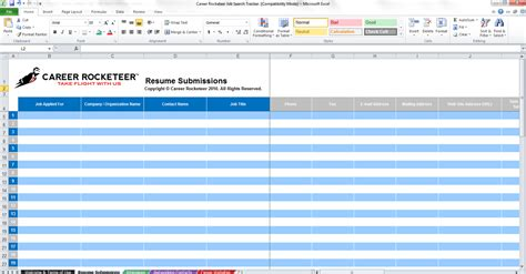 Microsoft Excel Search Tracker Application Spreadsheet Template Employment Application