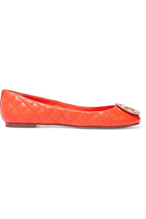 orange shoes flats burch quinn quilted leather ballet flats in orange lyst