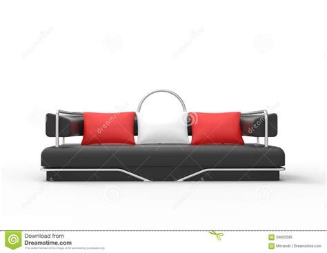 red and white couch black sofa with red and white pillows stock illustration