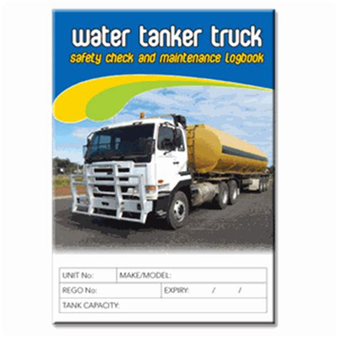 Background Check After Starting Water Tanker Safety Check Logbook Buy Commercial Logbook Personalised Custom