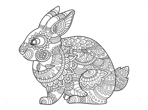 Coloring Page Zentangle by Rabbit Zentangle Coloring Page Rabbit