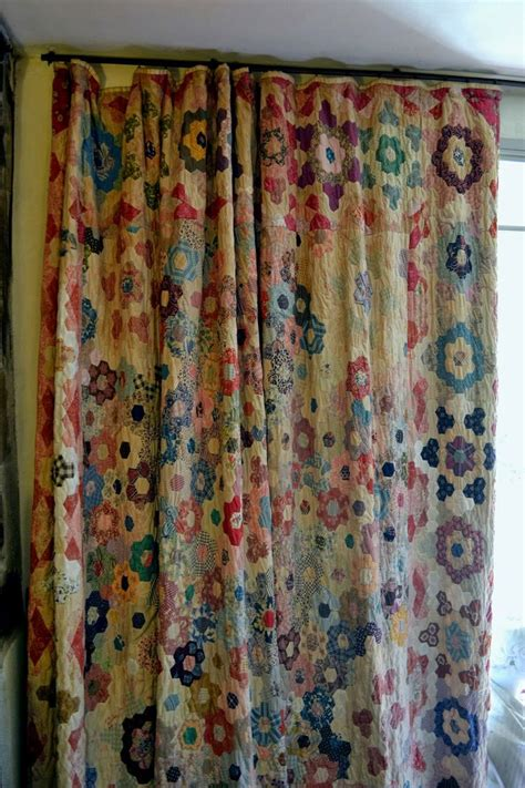 quilted curtains vintage quilt as curtain quilts pinterest