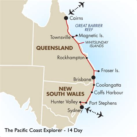 australia east coast map east coast australia road map my