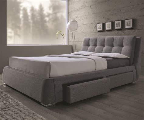 upholstered queen bed with storage coaster 300523q fenbrook grey fabric upholstered storage queen bed