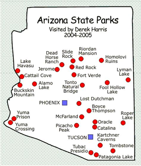 arizona state park map derek lamar harris visits all 27 arizona state parks