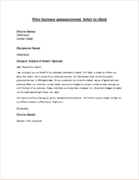 price increase letter price increase announcement letter to client 1544