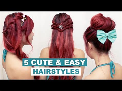 easy going out hairstyles youtube 5 quick easy hairstyles for medium long hair l cute