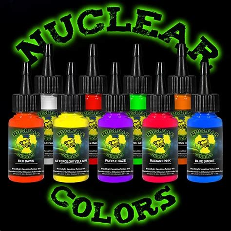 tattoo ink set mom s nuclear uv blacklight colors 9
