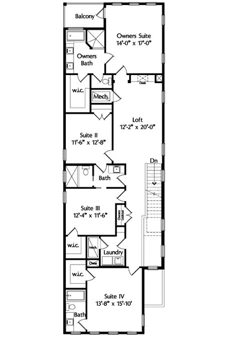 narrow house plans narrow lot mediterranean house plan 42823mj 2nd floor