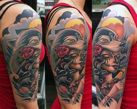 tattoo new school wolf tatuagem ombro new school mulher lobo por vince villalvazo