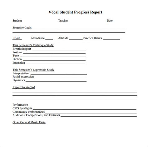 student report template word sle student progress report 17 documents in pdf word