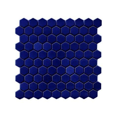 1 Inch White Hexagon Gloss Floor Tile - blue hexagon tile tile design ideas
