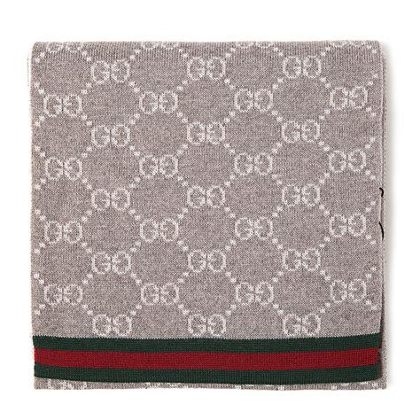 Gucci 751 Ab gucci古驰 围巾 gucci 古驰 灰色logo绿红条纹围巾 正品 价格 图片 寺库网