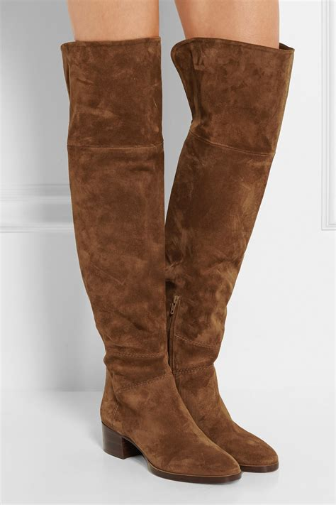 brown suede the knee boots chlo 233 suede the knee boots in brown lyst