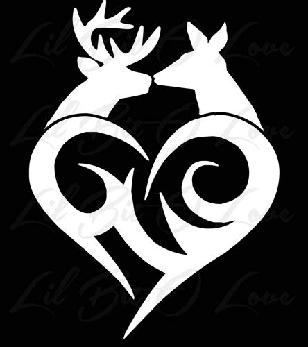 buck and doe kissing tribal heart vinyl decal deer couple