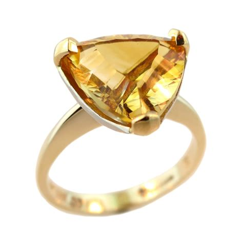 9ct yellow white gold 22ct gold golden citrine ring