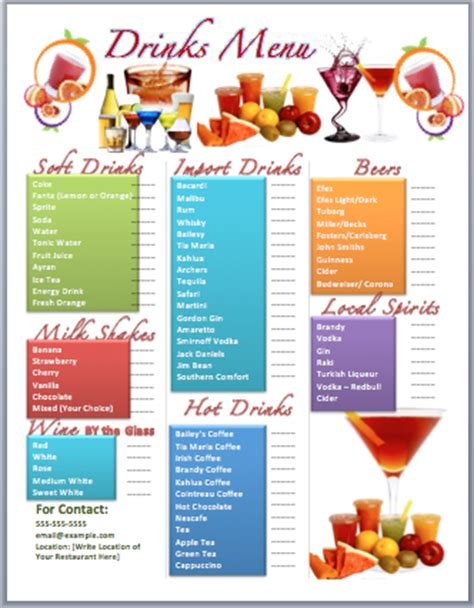 Drinks Bar Menu Template Microsoft Word Templates Cocktail Menu Template Free
