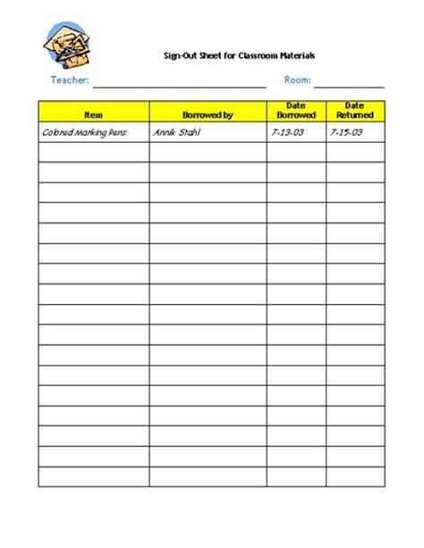 school supply list template supplies sign out sheet teaching