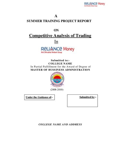 Mba Project Report On Analysis Of Advertisement by Mba Finance Project Report On A Competitive Analysis Of