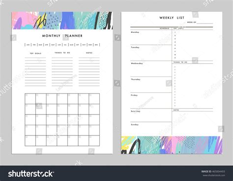 Monthly Planner Plus Weekly List Templates Stock Vector 465004493 Shutterstock Notes Plus Templates