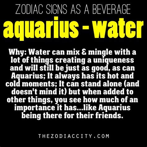 zodiac signs as a beverage aquarius water aquarius