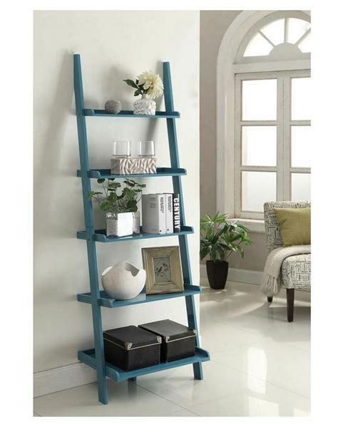 country style shelves ladder bookshelf bookcase shelves storage blue
