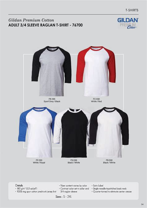 Kaos Raglan 3 4 Gildan 76700 Premium Cotton Xs Xl 76700 raglan 3 4 sleeve premium roundneck t shirt unisex