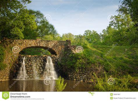 Nc House Plans stone bridge and waterfall in reynolda gardens stock photo