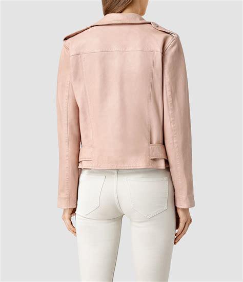 Jaket Parka Abuabu Pink Bb allsaints wyatt leather biker jacket in pink lyst