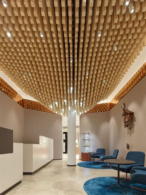 Ceiling Features by 4362 Square Wooden Dowels Cover The Ceiling Of This