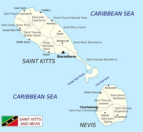 st kitts and nevis map geography of kitts and nevis