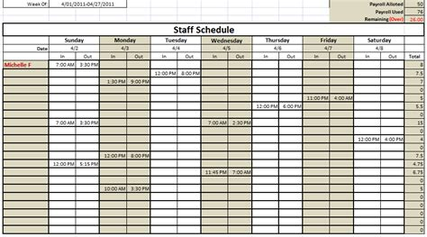 Work Schedule Template Cyberuse Retail Employee Schedule Template