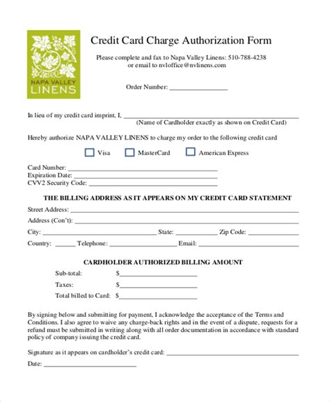 Sle Credit Card Authorization Form 12 Free Documents In Word Pdf Credit Card Payment Authorization Form Template