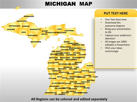 Usa Michigan State Powerpoint County Editable Ppt Maps And Templates Michigan State Powerpoint Template