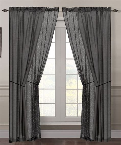 gray sheer curtains empire gray sheer flocked curtain panel set