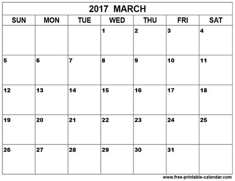 free printable march calendar template march calendar printable printable calendar 2017