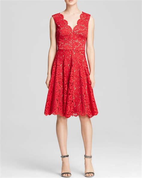 A Vera Wang Rainbow Of Dresses Part 1 by Lyst Vera Wang Dress Scalloped Lace Fit And Flare In