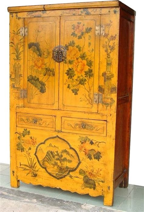 Home Decor Plants Living Room Asian Rare Yellow Lacquered Painted Flowers Antique