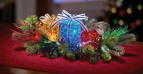 christmas decor lighted fiber optic gift box table