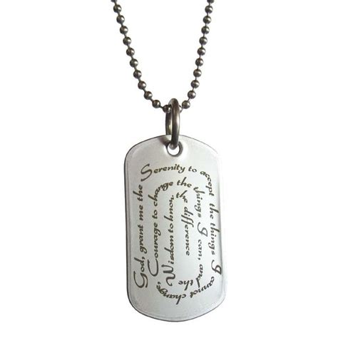 tag necklaces serenity prayer style tag necklace