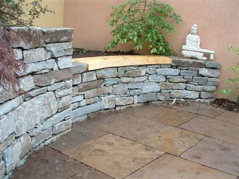 stacked stone bench stacked stone w in laid wood bench rustic stone walls